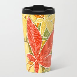 Hand drawn autumn illustration with various colorful fallen leaves. Travel Mug