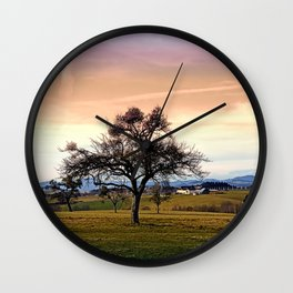 Old tree and amazing cloudy sky | landscape photography Wall Clock