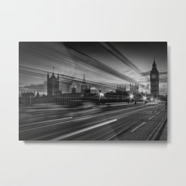 LONDON Westminster Bridge Traffic Metal Print