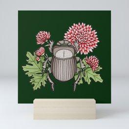 Beetle with Chrysanthemum - Dark Green Mini Art Print