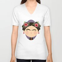 frida V-neck T-shirts featuring Frida by Maria Jose Da Luz