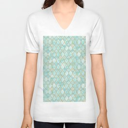 Luxury Aqua and Gold oriental pattern Unisex V-Neck