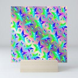 laughing, happy, stars, rainbow colors, pastel, friendly, pattern nursery textile Mini Art Print