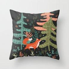Evergreen Fox Tale Throw Pillow