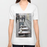 copenhagen V-neck T-shirts featuring Copenhagen street cafe by RMK Creative
