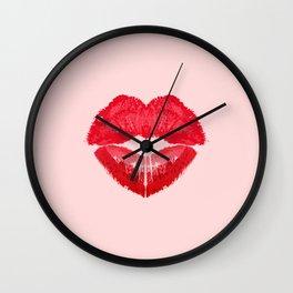 Kiss heart. (background light pink) Wall Clock