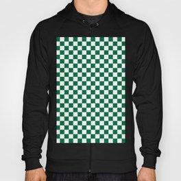 White and Cadmium Green Checkerboard Hoody