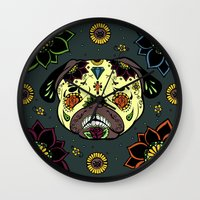 calavera Wall Clocks featuring Calavera Paxicana by Huebucket