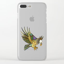 jewel eagle chartreuse Clear iPhone Case