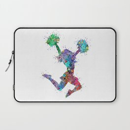 Cheerleader Art Girl Poms Dance Cheerleader Gifts Watercolor Print Sports Poster Dancing Gift Laptop Sleeve