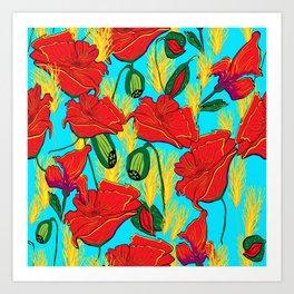 Mohnblüten,Poppies, Art Print