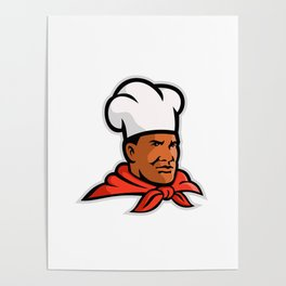 African American Chef Baker Mascot Poster
