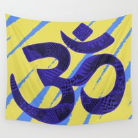 om Wall Tapestries featuring Yoga Om by Rebecca Bear