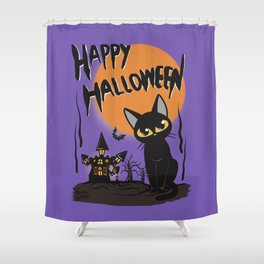 Halloween and cat Shower Curtain
