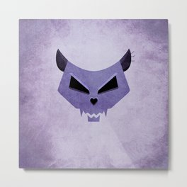 Purple Funny Evil Cat Skull Metal Print