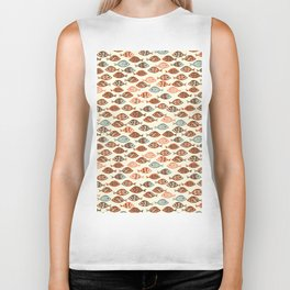 Fish pattern in abstract doodle style Biker Tank