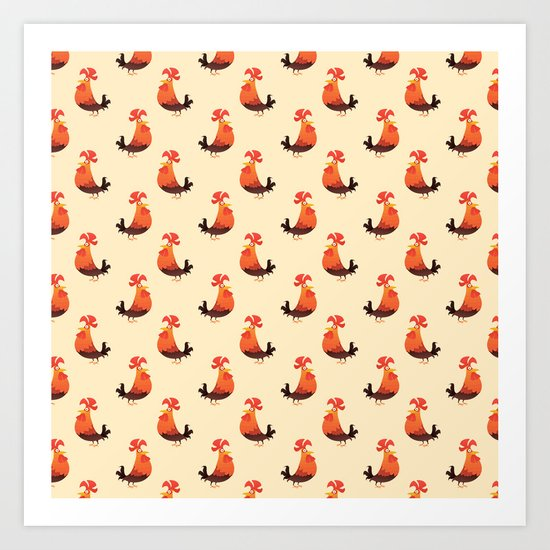 Roosters Pattern Art Print