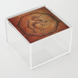 Distressed Chinese Dragon In Octagon Frame Acrylic Box