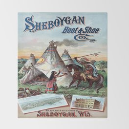 Vintage poster - Sheboygan Boot & Shoe Throw Blanket