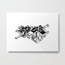 Cube monsters geometric doodle art Metal Print