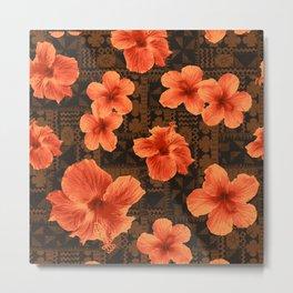 Kalalau Tapa Hawaiian Hibiscus Vintage Inspired Print Metal Print