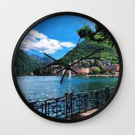 Lake Lugano lakeside path with alpine and fountain view Switzerland photograph Wall Clock