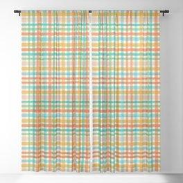 Colorful hand drawn tartan plaid gingham pattern. Sheer Curtain