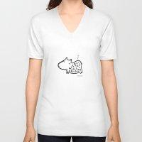korean V-neck T-shirts featuring korean alphabet hippo by lemonluna