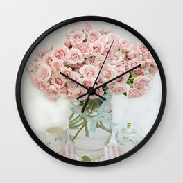 Romantic Shabby Chic Cottage Pink Roses In Vase Still Life Floral Prints Home Decor Wall Clock