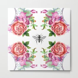 Honey Bee with Floral Watecolor Metal Print