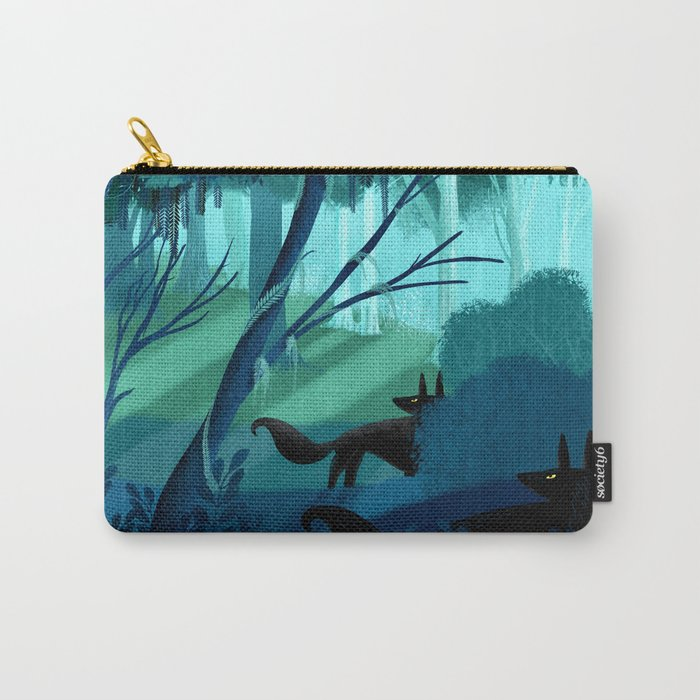 Shadow Wolves Stalk The Silver Wood Carry-All Pouch