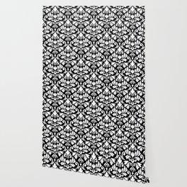 Flourish Damask Big Ptn White on Black Wallpaper