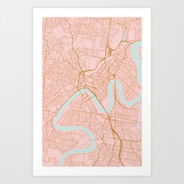 Pink and gold Brisbane map Art Print