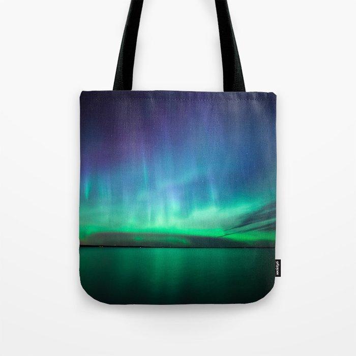 a4ef959f937 Beautiful northern lights Tote Bag by juhku