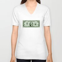 monet V-neck T-shirts featuring Check the Monet by Thomas Orrow