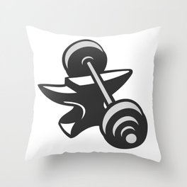 Barbell Dumbbell Anvil Grayscale Throw Pillow