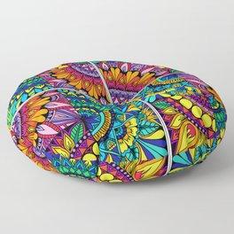 Color Block Puzzle Mandalas Floor Pillow