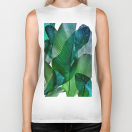 Palm leaf jungle Bali banana palm frond greens Biker Tank