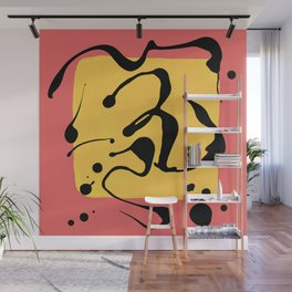 Paint Dance Yellow Square on Pink Wall Mural