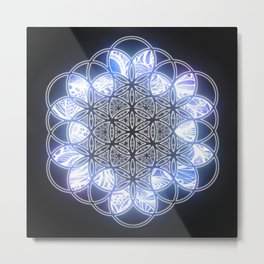 Flower of Life Ice Blue Glow Metal Print