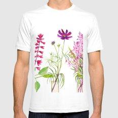 Summer Flowers White Mens Fitted Tee MEDIUM