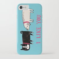 jazzberry blue iPhone & iPod Cases featuring I Like You. by gemma correll