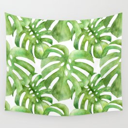 Monstera Leaf Tropical Leaf Pattern Green Watercolor Painting Wall Tapestry