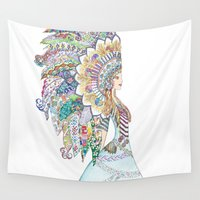 headdress Wall Tapestries featuring Native American Headdress by apinarbal