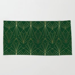 Art Deco in Gold & Green - Large Scale Beach Towel