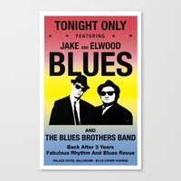 blues brothers Canvas Prints featuring Blues Brothers Play On by McGrathDesigns