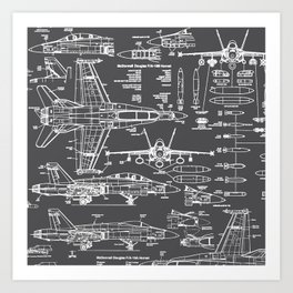 F-18 Blueprints // Charcoal-Grey Art Print