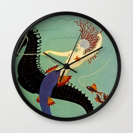 "Art Deco Illustration ""Water"" by Erté Wall Clock"