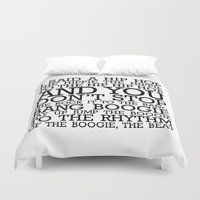 hip hop Duvet Covers featuring HIP HOP BOGGIE WHITE by HOLY MOLY