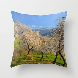Flowering almond at the snowy mountains Throw Pillow